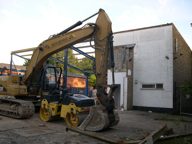Early stage in demolition of tyre centre