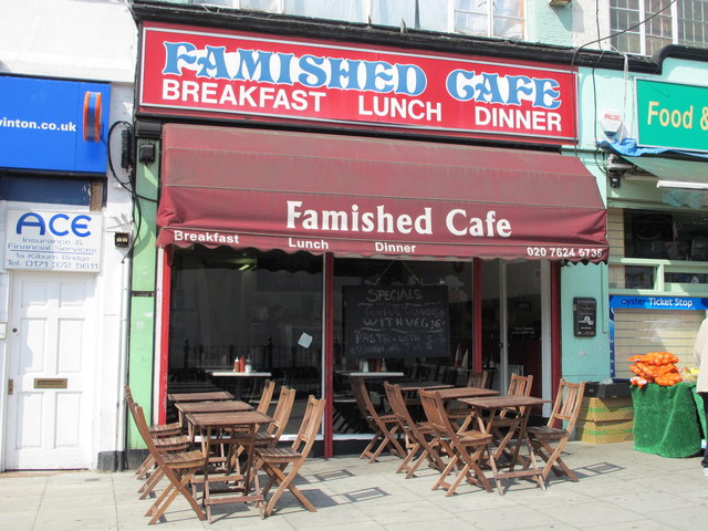 The Famished  Cafe, Kilburn High Road / Coventry Close, NW6