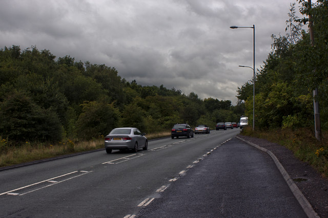 The A574 heading away from the M62 Junction