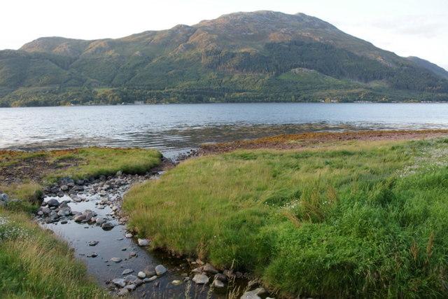 Allt na h-Inghinn entering Loch Duich at Ratagan