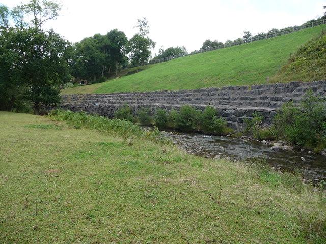 Riverbank defences on the Grwyne Fawr near Llangenny