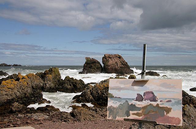 An artist's canvas at St Abbs