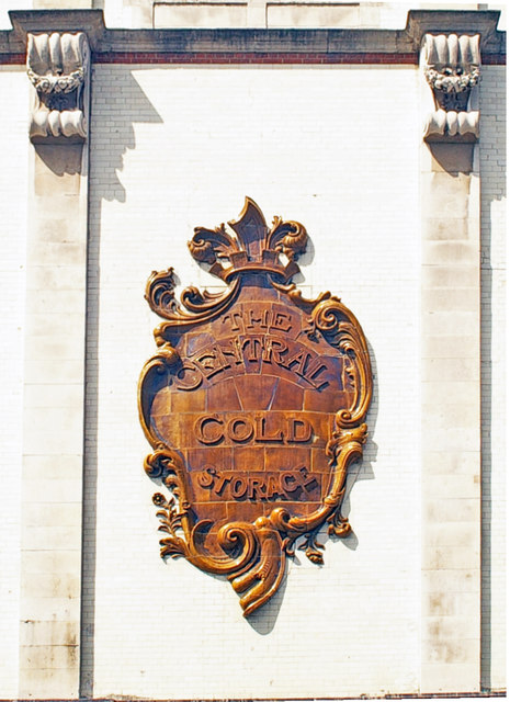 Faience cartouche, former Central Cold Storage building, Smithfield