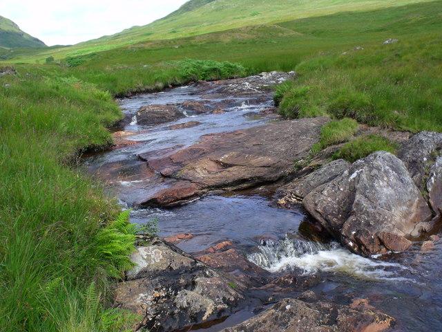 Bedrock in a bend of the Strone Burn near Loch Katrine