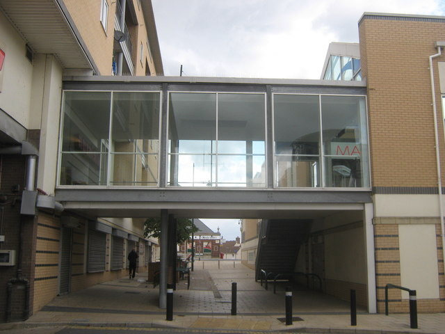 Glass walkway in Erith Riverside Shopping Centre