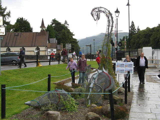 Loch Ness Monster Sculpture on Canal Side