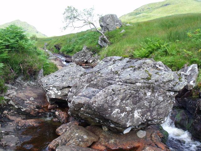 Rocks abound in the course of the Strone Burn near Loch Katrine