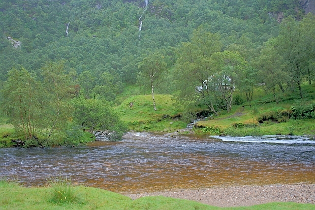 Confluence of the Allt Coire a' Mhàil with the Water of Nevis