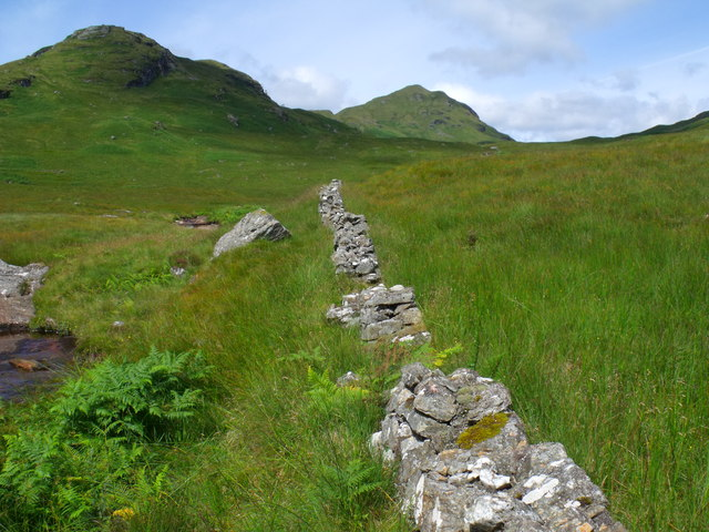 Continued course of the intermittent drystane dyke bordering the Strone Burn