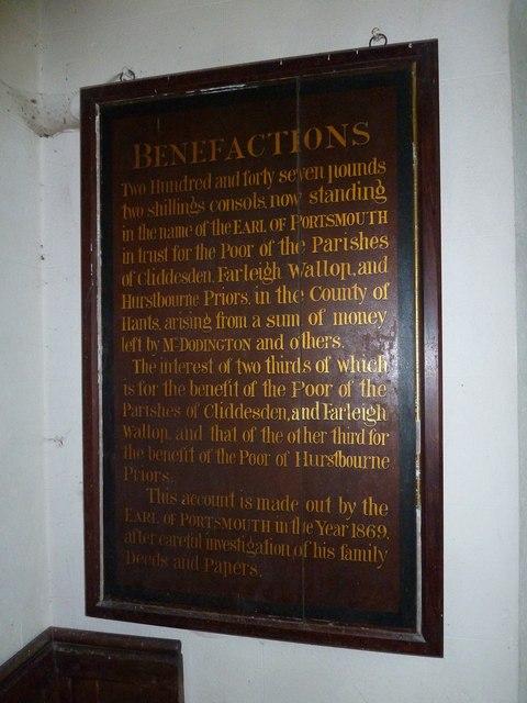 Saint Andrew, Hurstbourne Priors: benefactions board