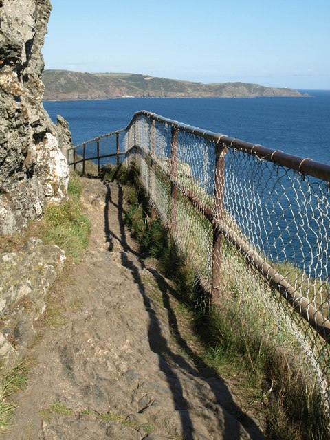 Fence on coast path, Sharp Tor