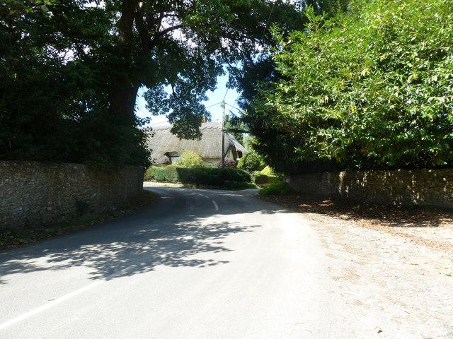 Lane curving through Monxton