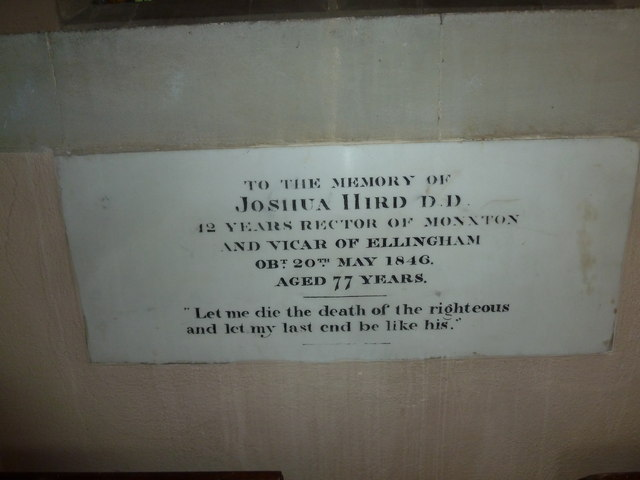Monxton - St Mary: memorial