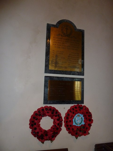 Monxton - St Mary: poppies beneath the war memorial