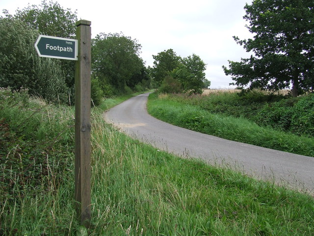 Footpath Sign And Country Road