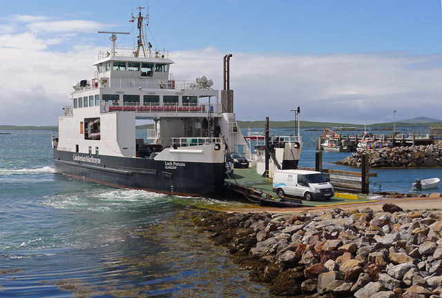 CalMac ferry Loch Portain discharging at Leverburgh