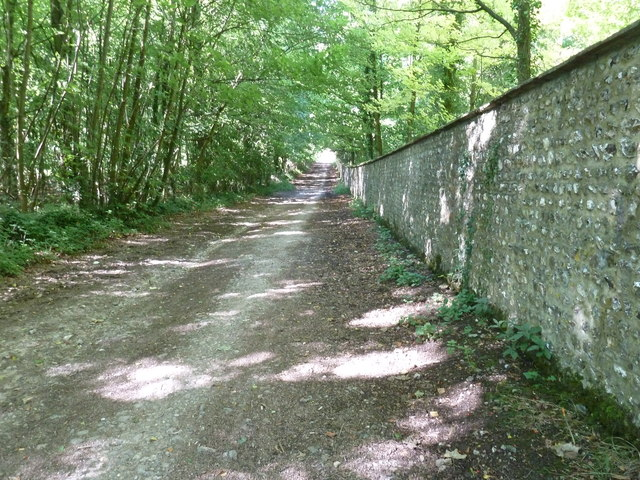 Monarch's Way by the West Dean Estate wall