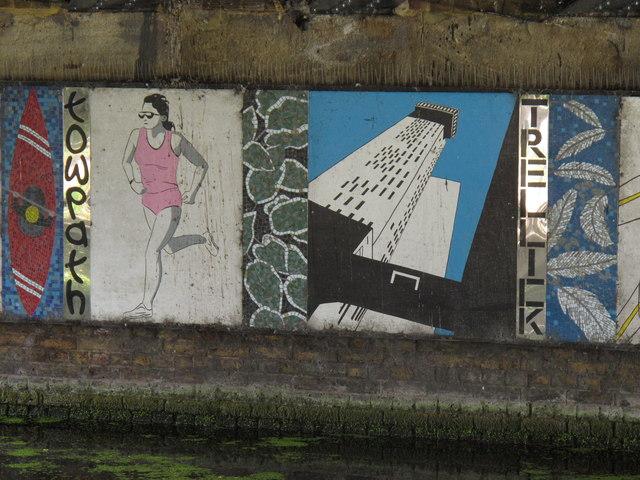 Mural under canal bridge - kayak, runner, Trellick Tower