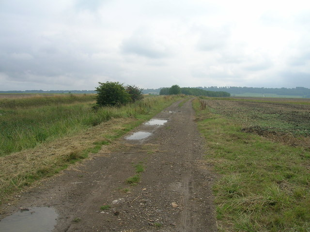 Farm track (bridleway) running east towards the River Trent