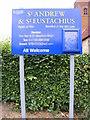 TM2559 : St.Andrew & Eustachius Church sign by Adrian Cable