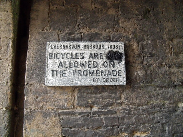 Bicycles are not allowed on the promenade, Caernarfon