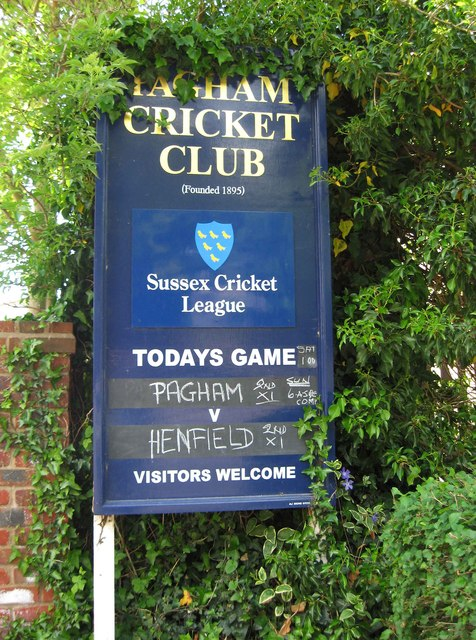 Pagham Cricket Club sign, Nyetimber Lane, Nyetimber