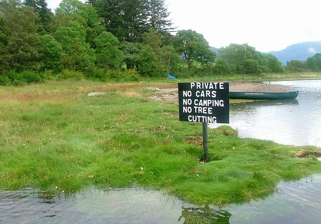 Sign on Loch Etive Shore