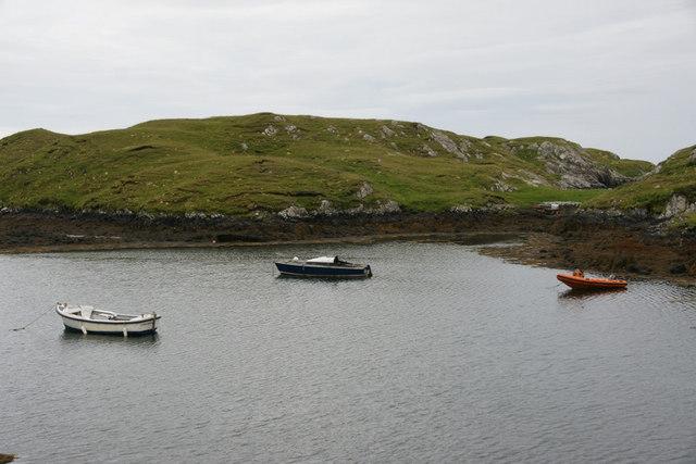 Boats on a lagoon, Aird na Cille, Scalpay (Sgalpaigh)