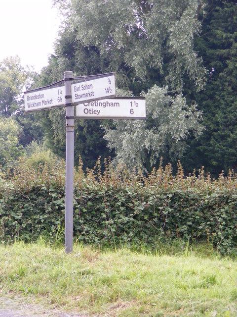 Roadsign on Brandeston Road