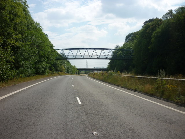 A footpath goes over the A1 at Botherton