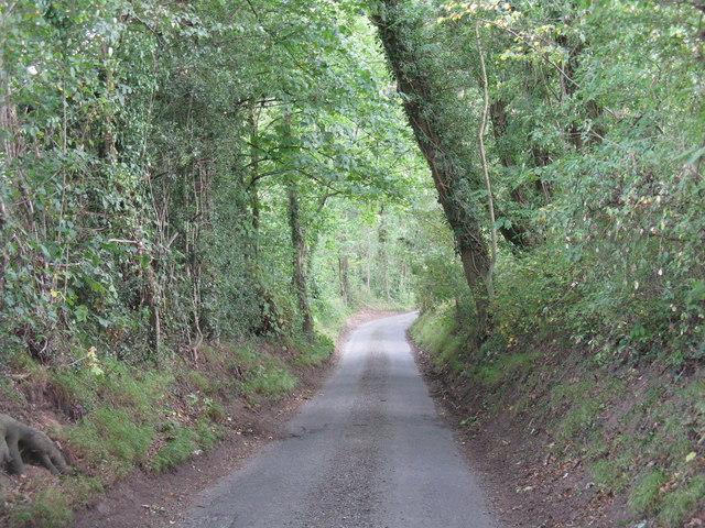 Narrow lane south of Lye Head