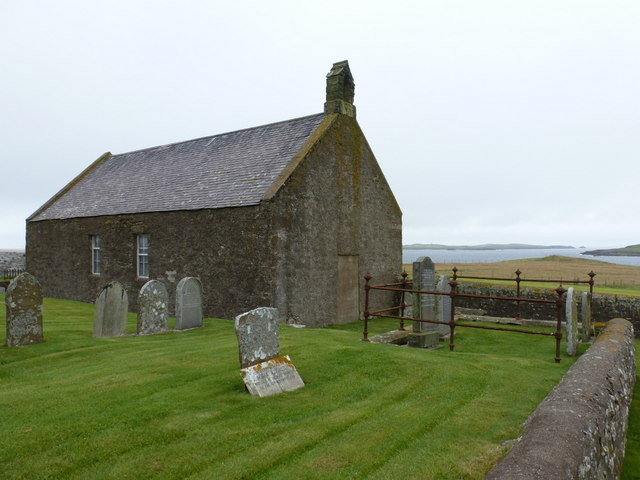 Sandness: disused church at Melby