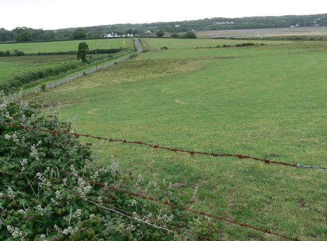 Lane and fields near Bryn Hyrddin