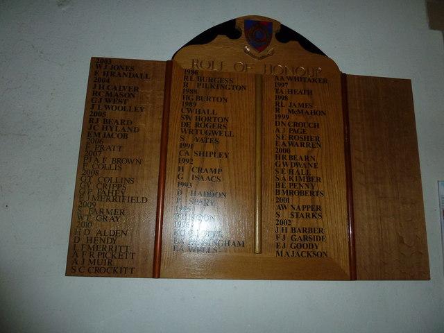 St. John the Baptist, Crawley: modern Roll of Honour