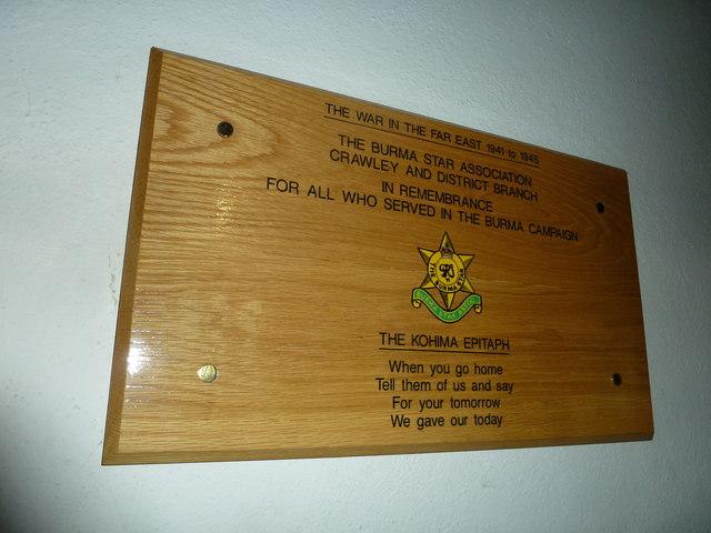 St. John the Baptist, Crawley: Burma Star commemoration