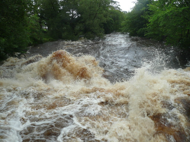 The River Ribble in spate, Settle
