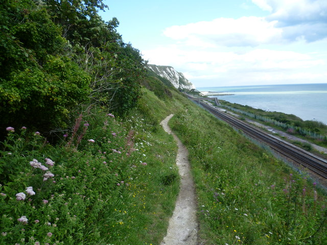 Footpath by the railway at Folkestone Warren