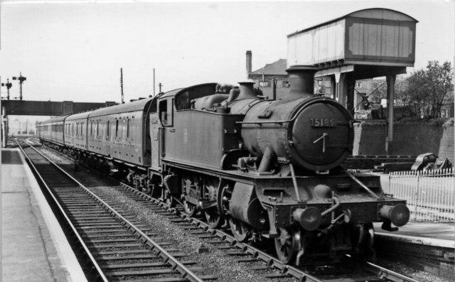 Worcester - Stratford-on-Avon local train arriving at Evesham