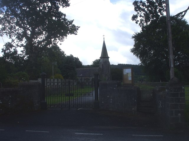 Stone stile into  churchyard, Betws Bledrws