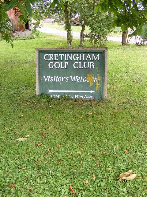 Cretingham Golf Club sign