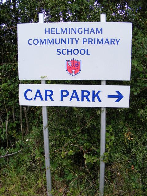 Helmingham Community Primary School sign