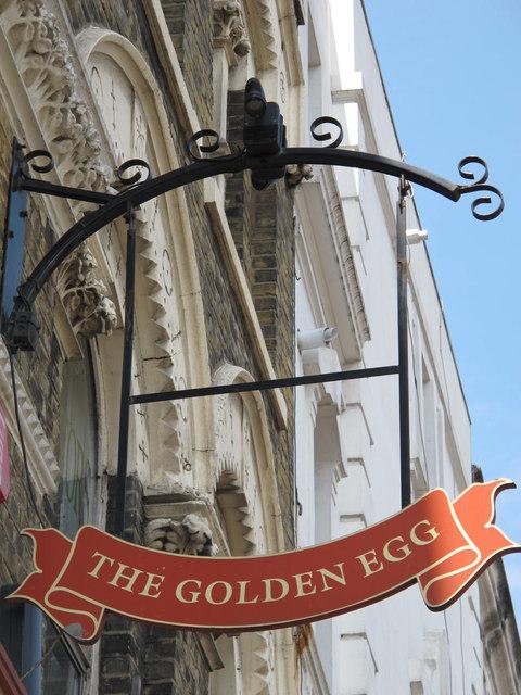 Sign for The Golden Egg, Kilburn High Road / Glengall Road, NW6