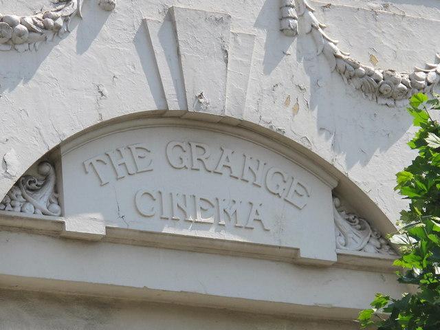 Sign for the former Grange Cinema, Kilburn High Road, NW6
