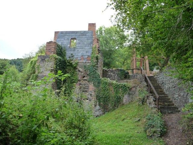 Steps up to main interpretation area, Snailbeach Mine