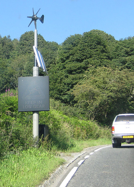 Weather-powered traffic sign, Sutton Bank