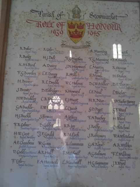 WW2 Roll of Honour, Stowmarket