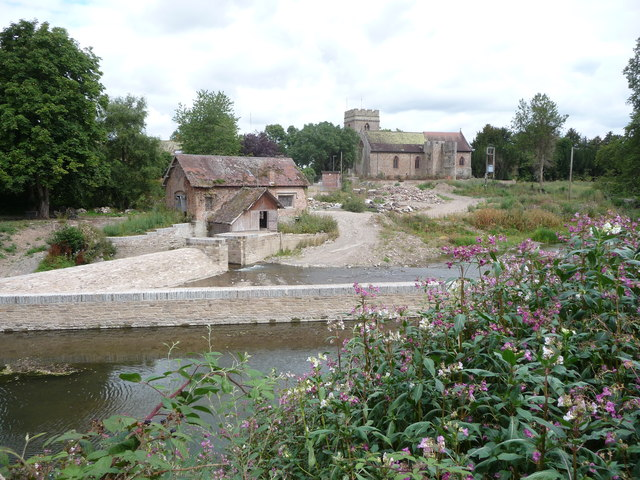 Bromfield church and the weir on the Teme under reconstruction