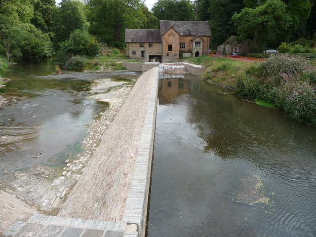 Old corn mill and weir at Bromfield under reconstruction