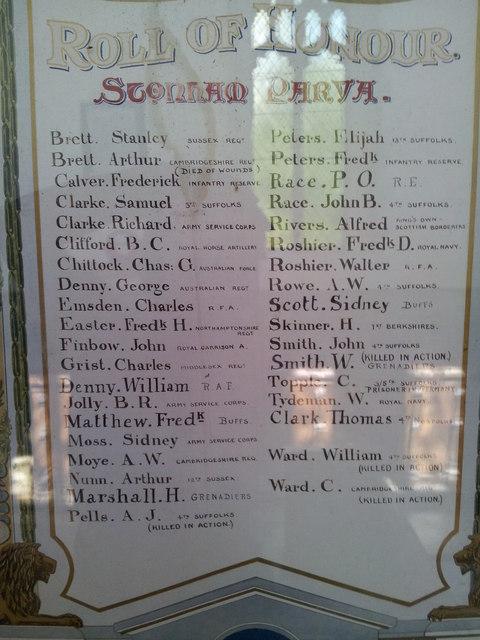 WW1 Roll of Honour, Stonham Parva