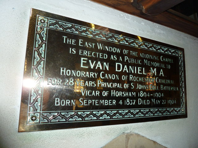 St Mary, Horsham- memorial to a former incumbent